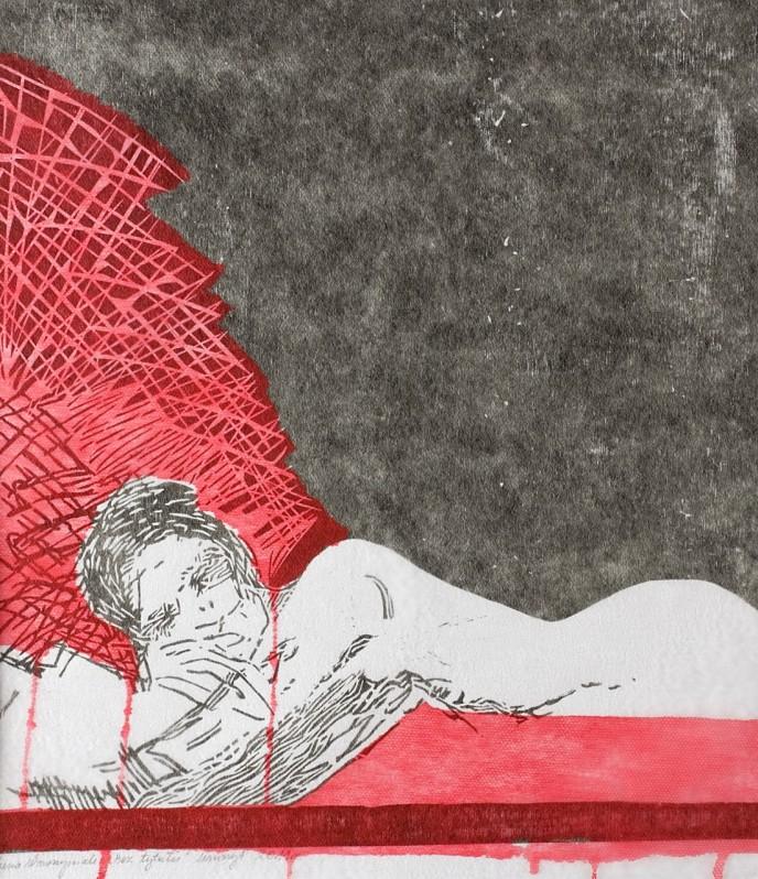 Linoryt - dziewczyna na tle dwu intensywnych plam: czerwonej i czarnej