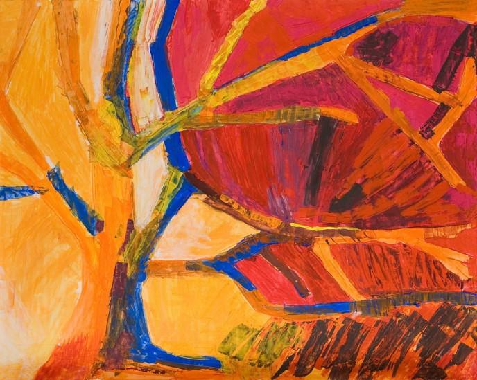 Drzewo, czwarte z serii temper malowanych z gestu i emocji